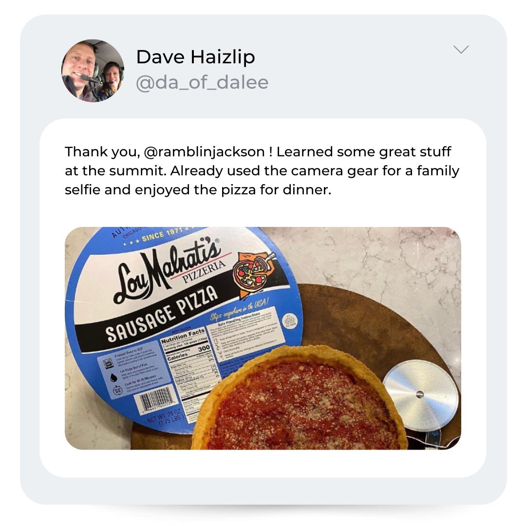 Dave Haizlip Summit_Pizza Social Media Repost